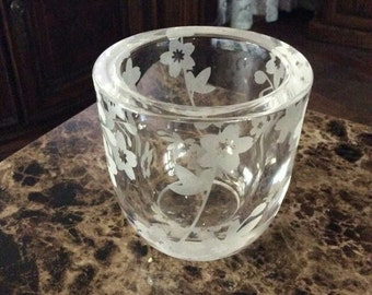 Vintage Etched Glass Votive