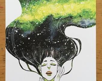 Galaxy in her hair- print