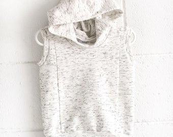 sleeveless hoodie, baby hoodie, ecru melange baby hoodie, melange hoodie, unisex sleeveless hoodie, cream sleeveless hoodie