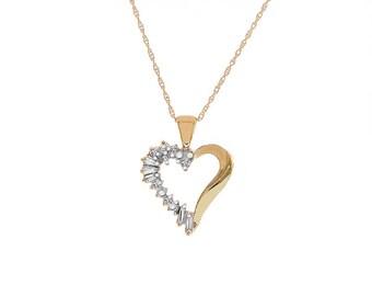 0.10 Carat Round Baguette Cut Diamond Heart Pendant Necklace 14K/10K Yellow Gold