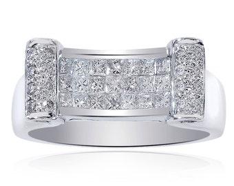 0.90 Carat Princess/Round Cut Ring 14K White Gold