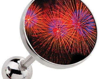 Red Fireworks Surgical Steel Cartilage Earring Image 49