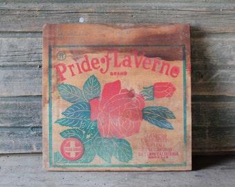 Pride of La Verne Brand wooden crate side