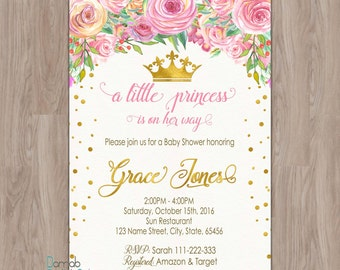 Princess Baby Shower invitation, baby shower invitation princess, Pink Baby Shower invitation, floral baby shower invitation, royal invites