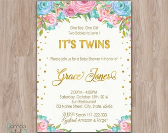Twin baby shower invitation, baby shower invitation twins, boy and girl twins, twins invitation, baby shower twins, gender neutral invite