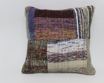 Patchwork Kilim Pillow Throw Pillow 20x20 Cotton wool Kilim Pillow Bed Pillow Throw Pillow Ethnic Pillow  SP5050-1174