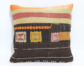 Chic Kilim Pillow Throw Pillow 16x16 Decorative Kilim Pillow Throw Pillow Bed Kilim Pillow Boho Pillow Throw Pillow  SP4040-1646