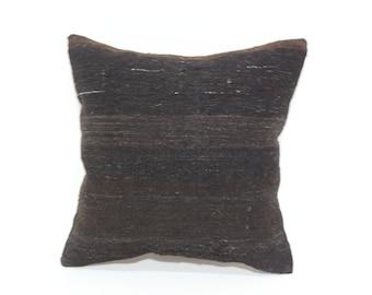 Naturel Black Kilim Pillow Throw Pillow Sofa Pillow 16x16 Anatolian Kilim Pillow Turkish Kilim Pillow Ethnic Pillow SP4040-2069