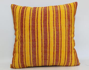 20x20 Striped Kilim Pillow Sofa Pillow Handwoven Kilim Pillow Floor Pillow 20x20 Turkish Kilim Pillow Cushion Cover SP5050-1661