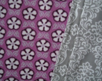 Purple Floral Print Fleece With Elegant Pattern Print Fleece On Reverse Sewn Fleece Blanket Or Throw