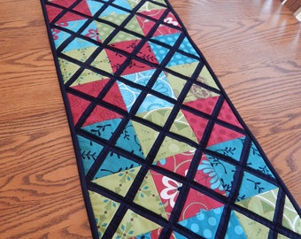 Quilted Table Runner, Black, Red, Blue, Green, 14 by 46 inches, Handmade Table Topper, Dining Table Decor