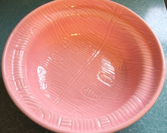 Vintage pink pottery carrots and eggs bowl