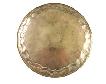 Vintage State of Bahrain Brass Tea Serving Tray Plate Floral