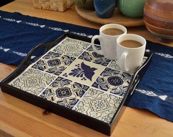 Talavera tile square ottoman tray /Centerpiece / Coffee Table Tray / Tea Tray / Rustic Serving Tray /Gypsy Wedding Decor /Fiesta Decorations