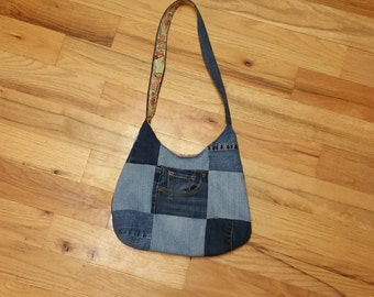 Patchwork denim hobo bag/ purse/ tote handmade from upcycled, recycled, repurposed jeans
