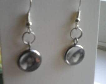 Silver plated and glass earrings
