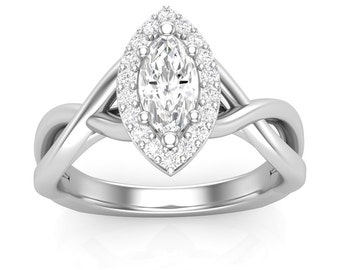 White Gold Engagement Ring Marquise Halo Ring Twist Shank .15 ct Rounds Semi Mount for 1/2 ct 8x4 Brand New 14K Setting Only Or Moissanite