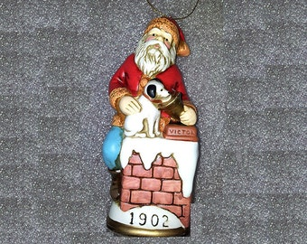 "Memories of Santa Collection Circa 1902 ""Santa Claus And Nipper"" New In Box Collectible Ornament Figurine"
