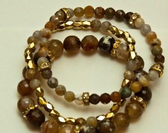 Jane- Agate and metal bracelet