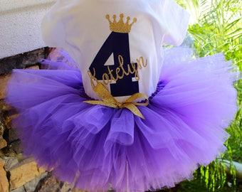 Purple and Gold Tutu Set, Purple Tutu, Purple and Gold Tutu, Purple Tutu, Glitter Crown, Girl Birthday Tutu, 1st Birthday Tutu Set
