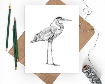 Blue Heron Art | Bird Prints | Heron Print | Beach Art | Bird Art | Coastal Decor | Beach Wall Art | Coastal Wall Art | Beach Wall Decor