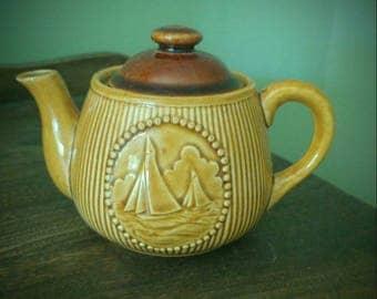 Vintage Japan Teapot-Ship Scene