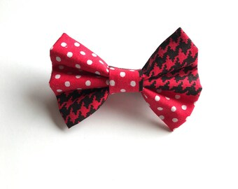 Pamella Bow - Red Bow ~ Fabric bow ~ Lace Head band ~ Pigtail Bows ~ Baby Headband ~ Adult Headband ~ Kids Headband ~Red and white bow
