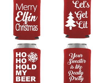 Christmas Party Can Insulators Ugly Sweater party favors Holiday drink holders