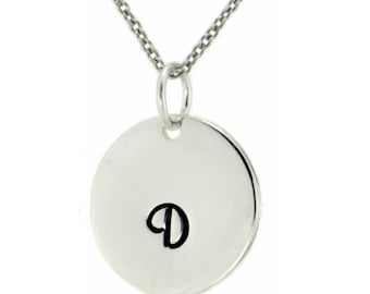 Personalized Monogram Initial Pendant 925 Sterling Silver Custom Letter Disc Necklace Chain