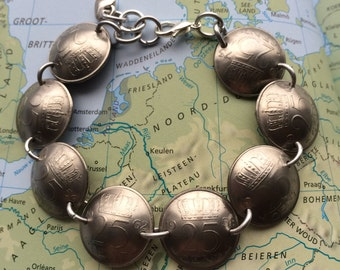 Netherlands coin bracelet in birth year 1990 - 1991 - 1992 - 1993 - 1994 - 1995 - 1996 - 1997 - 1998 - 1999 - 2000 Holland