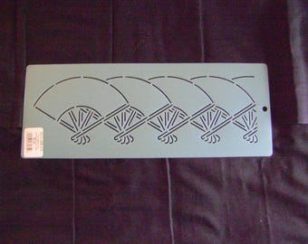 Sashiko Japanese Embroidery Stencil 3.5 in. Asian Fan Border Motif Block/Quilting