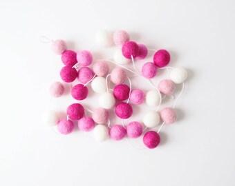 Raspberry Kiss Feltball Garland - Pink Garland - Nursery Decor - Home Decor - Wall Hanging