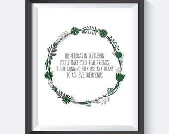 Slytherin Wreath Print , Harry Potter Print, Harry Potter Art, Instant Download, Harry Potter, Harry Potter Quote, Digital Print, Geek Art