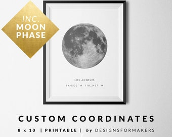 Valentines Gift - Custom Coordinates Print - Custom Moon Phase Print - Personalized Coordinates Printable - Latitude Longitude - Weddings 18