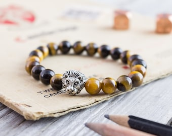 8mm - Tiger eye stone beaded silver Lion head stretchy bracelet, yoga bracelet, beaded mens bracelet, womens bracelet, bead bracelet