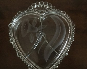 Vintage Heart Shaped and Etched Glass Covered Jewelry Dish
