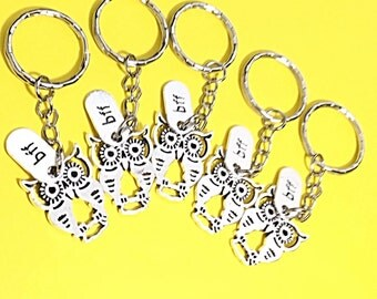 Best friends keychain - set of five, bff charm, 5 bff keychain, set of 5 best friend, Owl keychain, Bird keychain, owl jewelry, bff gift