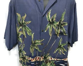 Vintage Hawaiian Shirt Mens Rayon Short Sleeve Shirt Size Large Blue Hawaiian Shirt From Big Dogs Tropical Shirt Aloha Shirt