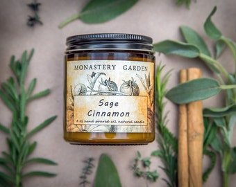 4 oz Soy candle SAGE CINNAMON, Scented candle, natural wax, vegan gift