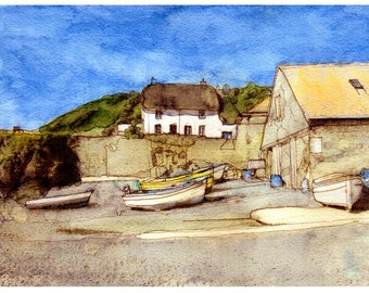 Cadgwith Cottage watercolour print