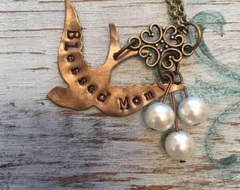 Blessed mom necklace