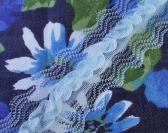 Vintage Nylon Ruffle Trimming - 1960's/1970's - Pale Blue - One piece - Unused