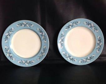2 x Dinner Plates - Washington Hanley - Vintage 1950s - Blue Flowered Border, 23cm Dia