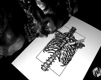HEARTLESS - Art Print - Ribcage - Anatomy - Bones - Intricate Illustration - Dotwork Linedrawing - Dark Art - Tattoo - Blackwork