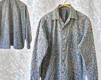 Vintage Men's Paisley Cotton Shirt — M/L