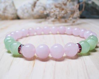 Rose Quartz Bracelet Jade Bracelet Gemstone Bracelet  Heart Chakra Bracelet Calming Bracelet Healing Bracelet Love Bracelet Inner Peace
