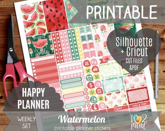 Watermelon Watercolor Weekly Printable Planner Stickers, Happy Planner Stickers, Weekly ...