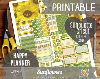 Sunflowers Weekly Printable Planner Stickers, Happy Planner Stickers, Weekly Stickers, Sunflowers Stickers, Cut files