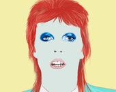 Is there Life on Mars? - David Bowie - Bowie Art print - Giclee - Fine Art Print - portrait - Icon