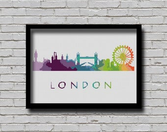 BOGO Cross Stitch Pattern London England Europe City Silhouette Watercolor Painting Effect Decor Embroidery Rainbow Color Skyline xstitch